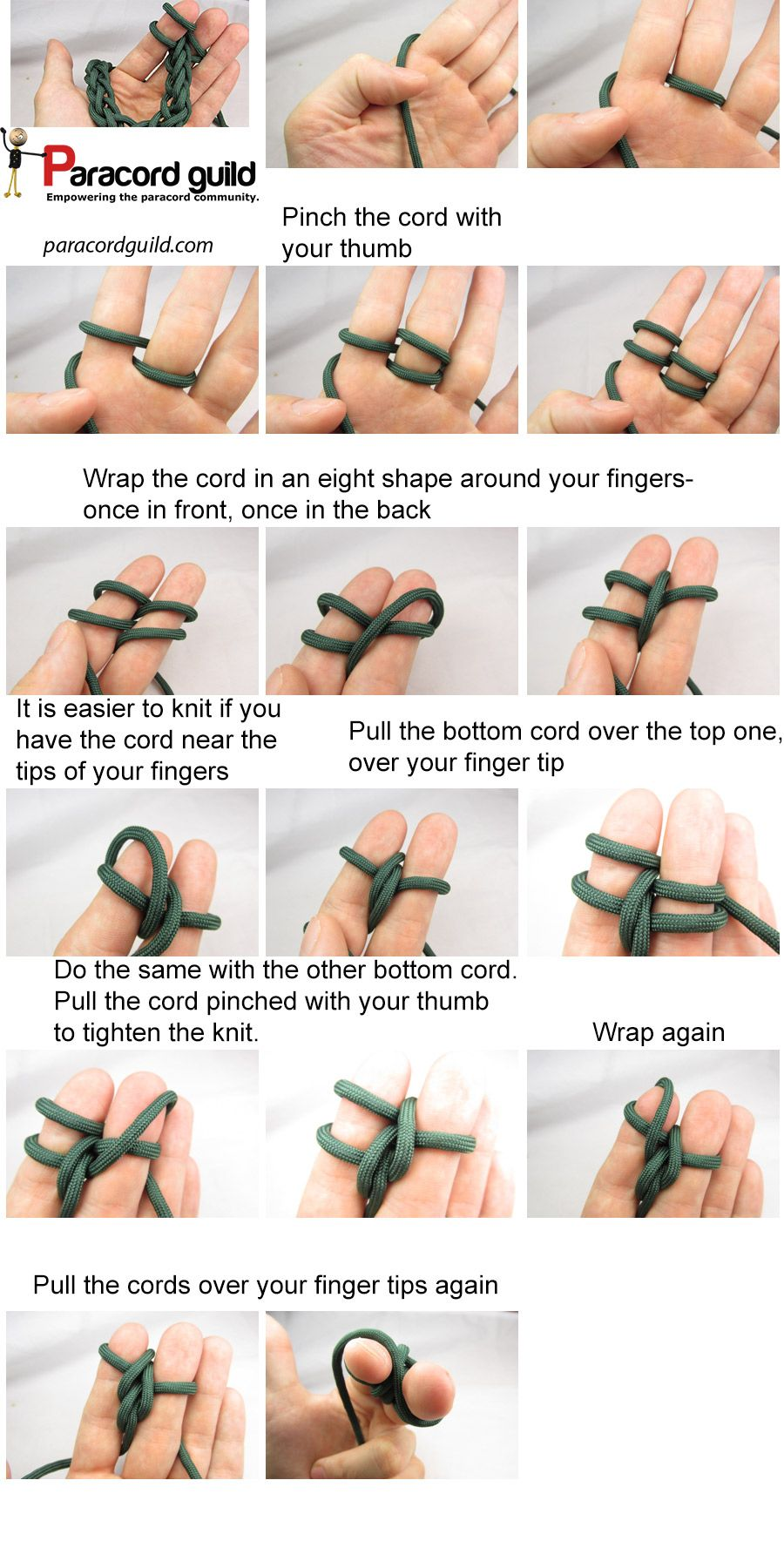 How To Finger Knit Paracord Guild Ropes Rigging Pinterest