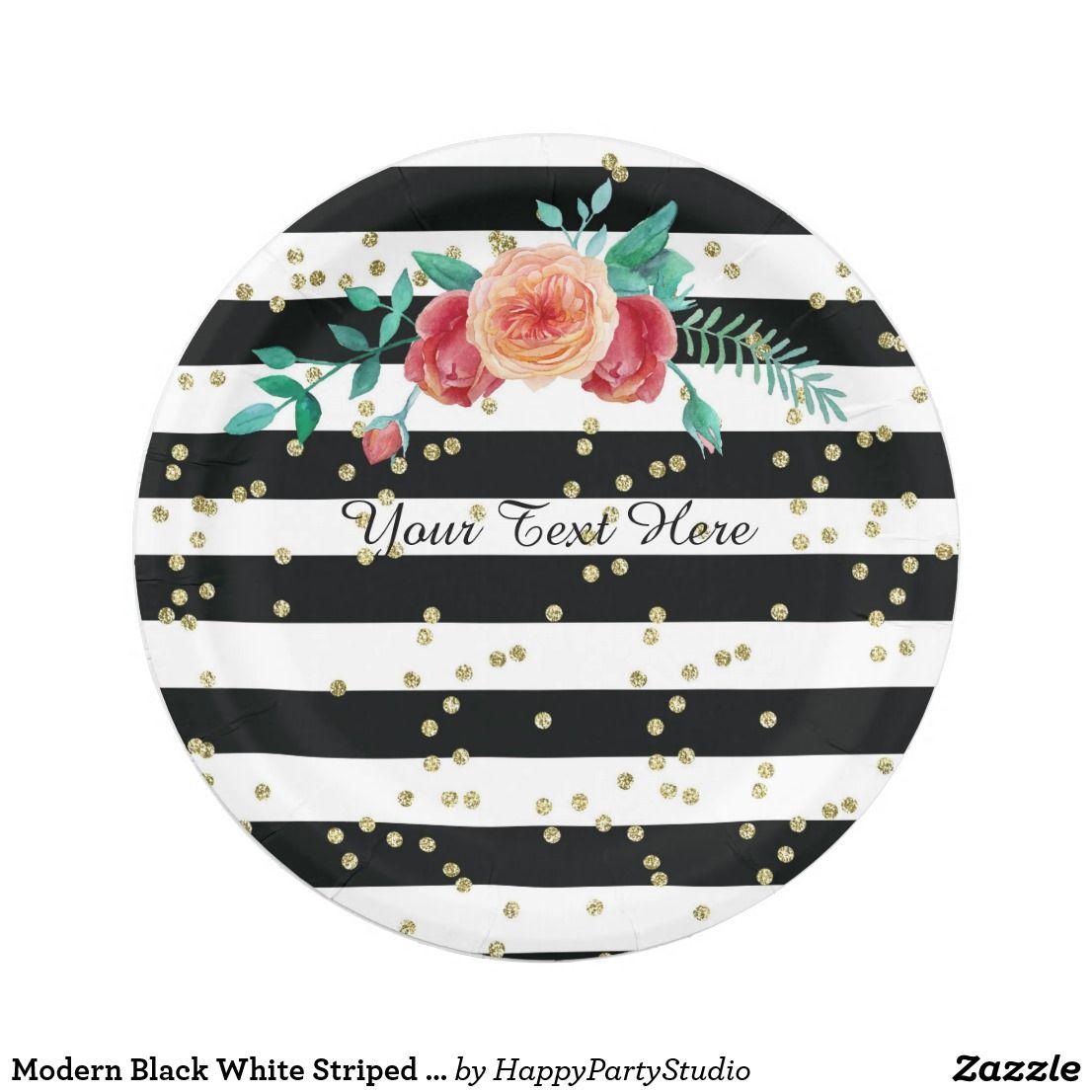 Modern Black White Striped Gold Paper Plates  sc 1 st  Pinterest & Modern Black White Striped Gold Paper Plates | Custom Plates ...