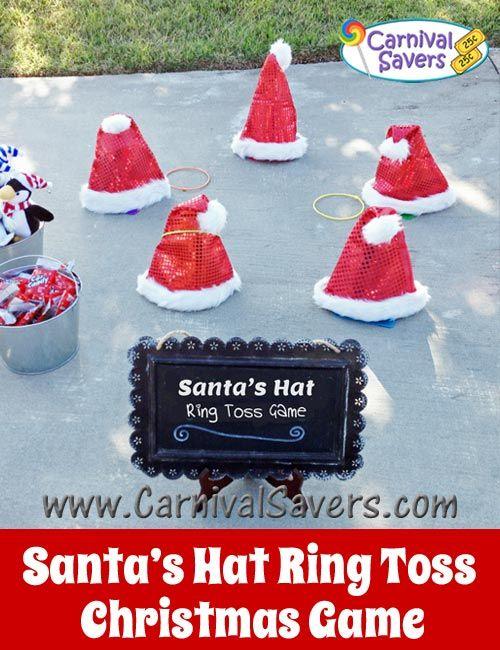c38ca712f5401 Santa Hat Ring Toss Game - Fun DIY Christmas Party Game!  santa  winter   games