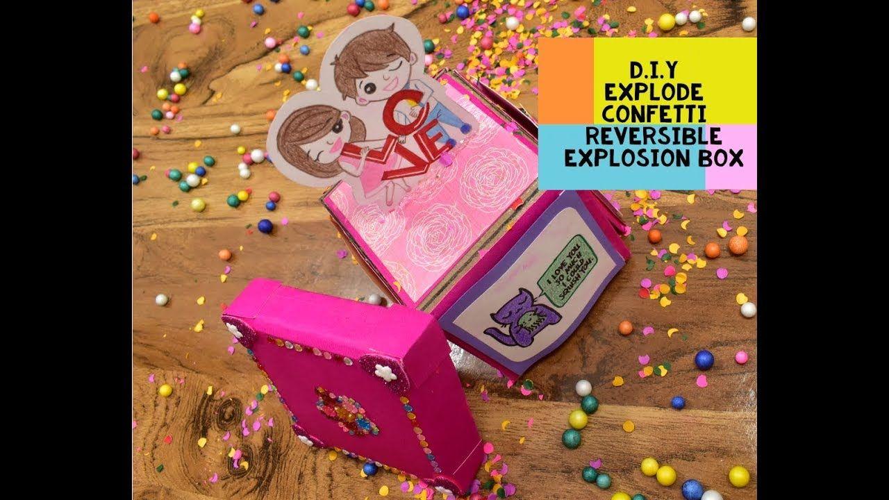 How To Make Exploding Confetti Box Reversible Explosion Box New Explosion Box Idea D I Y Youtube Diy Exploding Box Exploding Box Card Confetti Cards