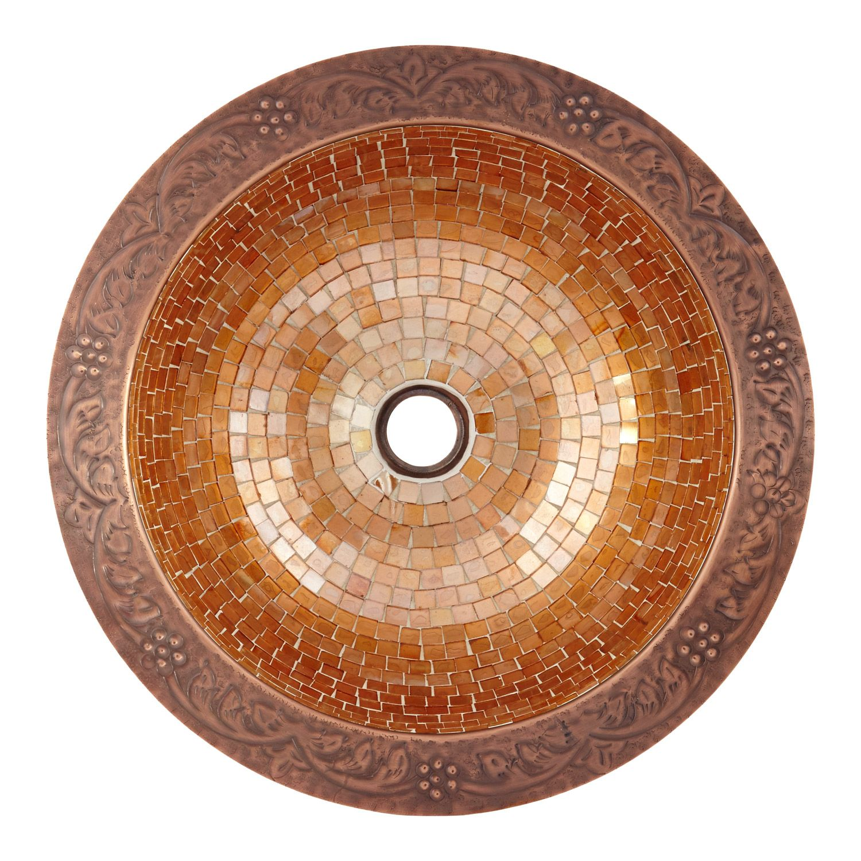 Lorain Glass Mosaic Copper Sink Bathroom Copper Sink