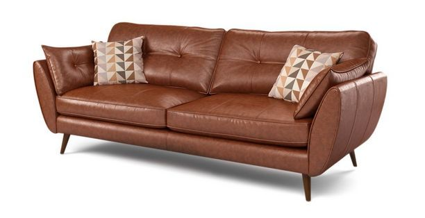 Zinc Leather 4 Seater Sofa Sofa Seater Sofa Seater