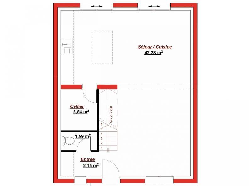 Plan RDC Abesses 96 La maison Abesses possède une surface habitable - plan salon cuisine sejour salle manger