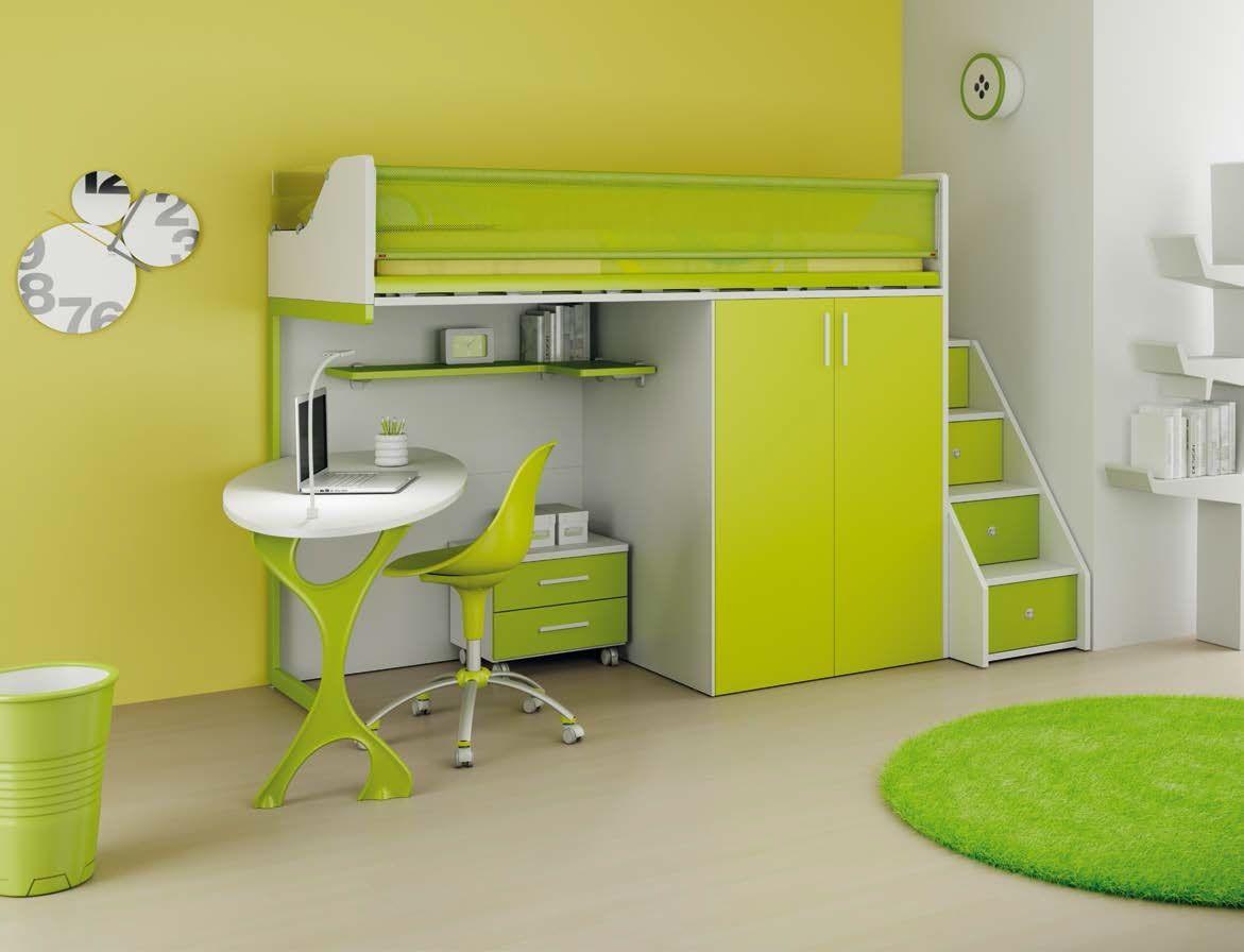 Chambre enfant PERSONNALISABLE LH33 lit mezzanine - MORETTI ...