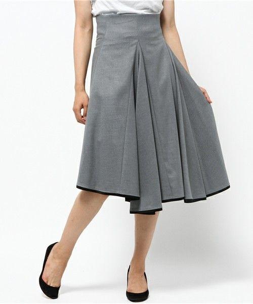 Demi-Luxe BEAMS(デミルクスビームス)のELIN / アシンメトリーフレアスカート(スカート)|グレー