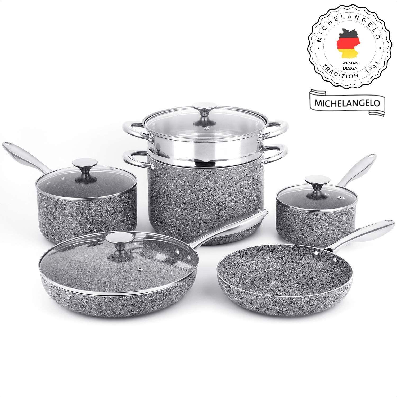 Michelangelo Stone Cookware Set 10 Piece Ultra Nonstick Pots And Pans Set Cookware Set Cookware Set Nonstick Pots And Pans Sets