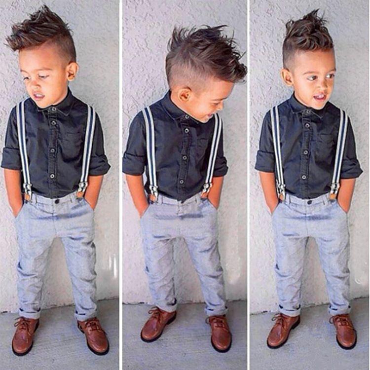 Baby Boys Kids Spring Gentle Suits Boy Gentleman Clothes Set Long Sleeve Shirt Suspender Trousers