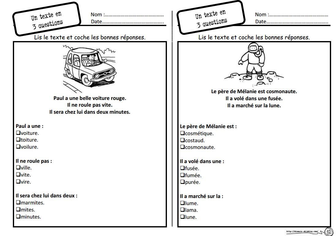 Lecture compréhension CP. Un texte / 3 questions