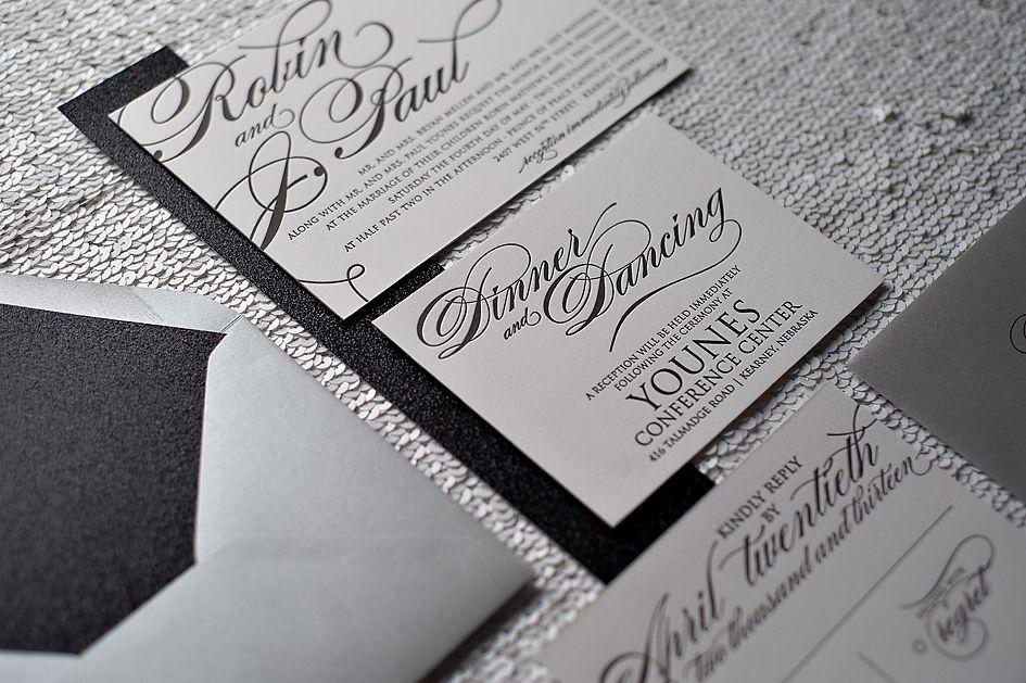 Black And Silver Wedding Invitations: Formal Wedding Invitation, Letterpress Wedding Invitation