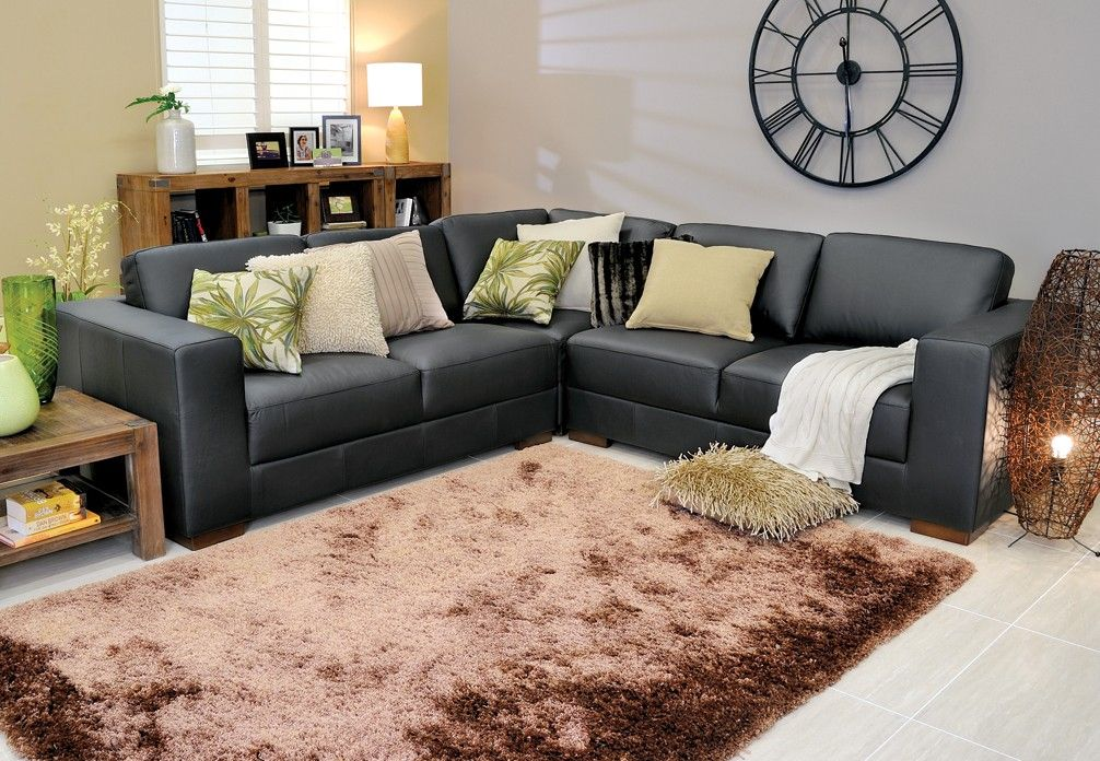 Robina Small Corner Lounge Suite In Black Leather Super