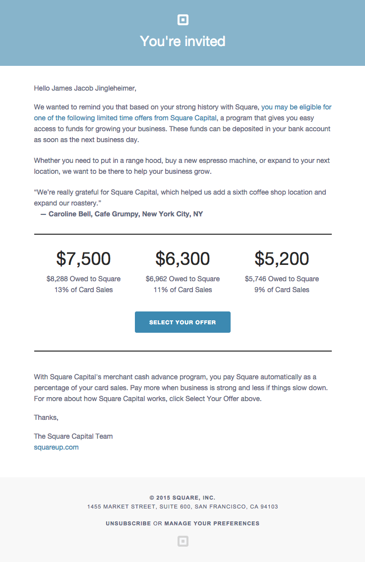 Square sent this email with the subject line youre invited to square sent this email with the subject line youre invited to squares new program get money to grow your business business owners are offered an stopboris Gallery