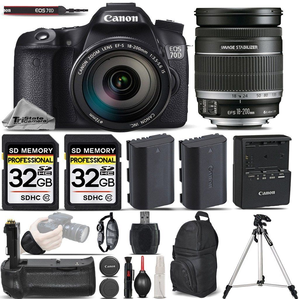 Canon Eos 70d Dslr Camera Canon 18 200mm Is Lens Battery Grip Backup Battery 64gb Storage Kit Wrist Grip Strap Al Dslr Camera Dslr Dslr Camera Canon