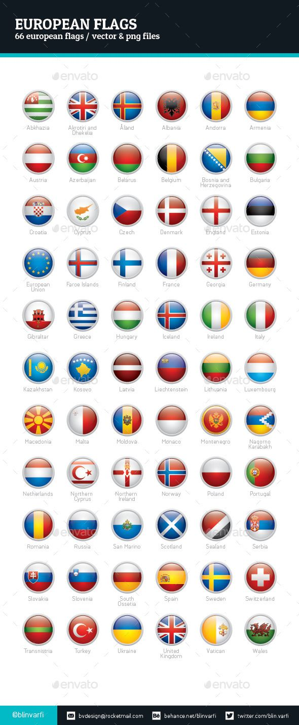 European Flags Rounded Icons — PSD web2.0
