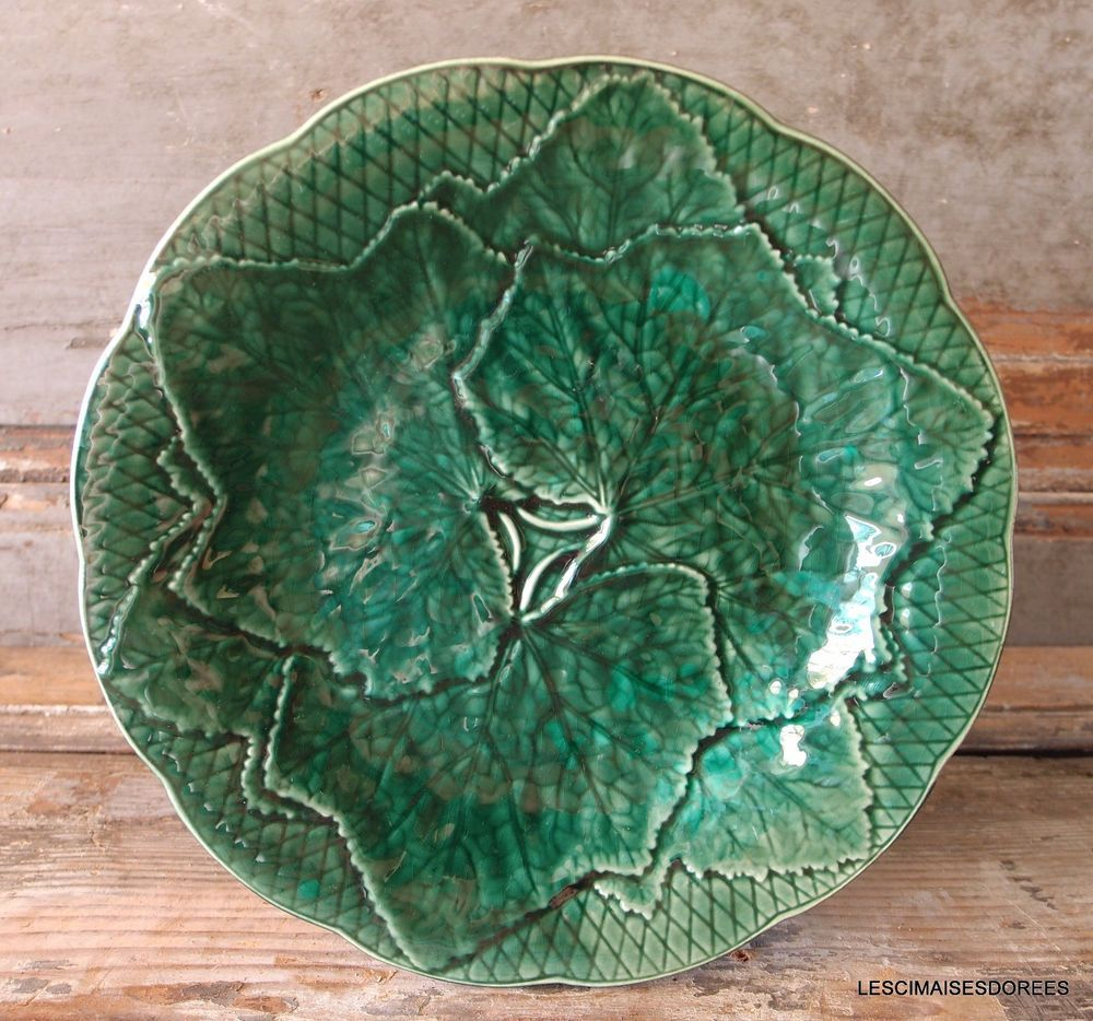 Antique French Majolica Green Pottery Plate Vine Leaf Signed Gien France 7 Green Pottery Pottery Plates Pottery