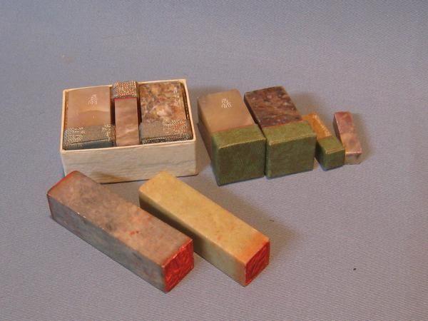 Stamp 茶160アンティーク印材まとめて9点スタンプ印鑑 インテリア 雑貨 家具 Antique ¥1000yen 〆06月12日