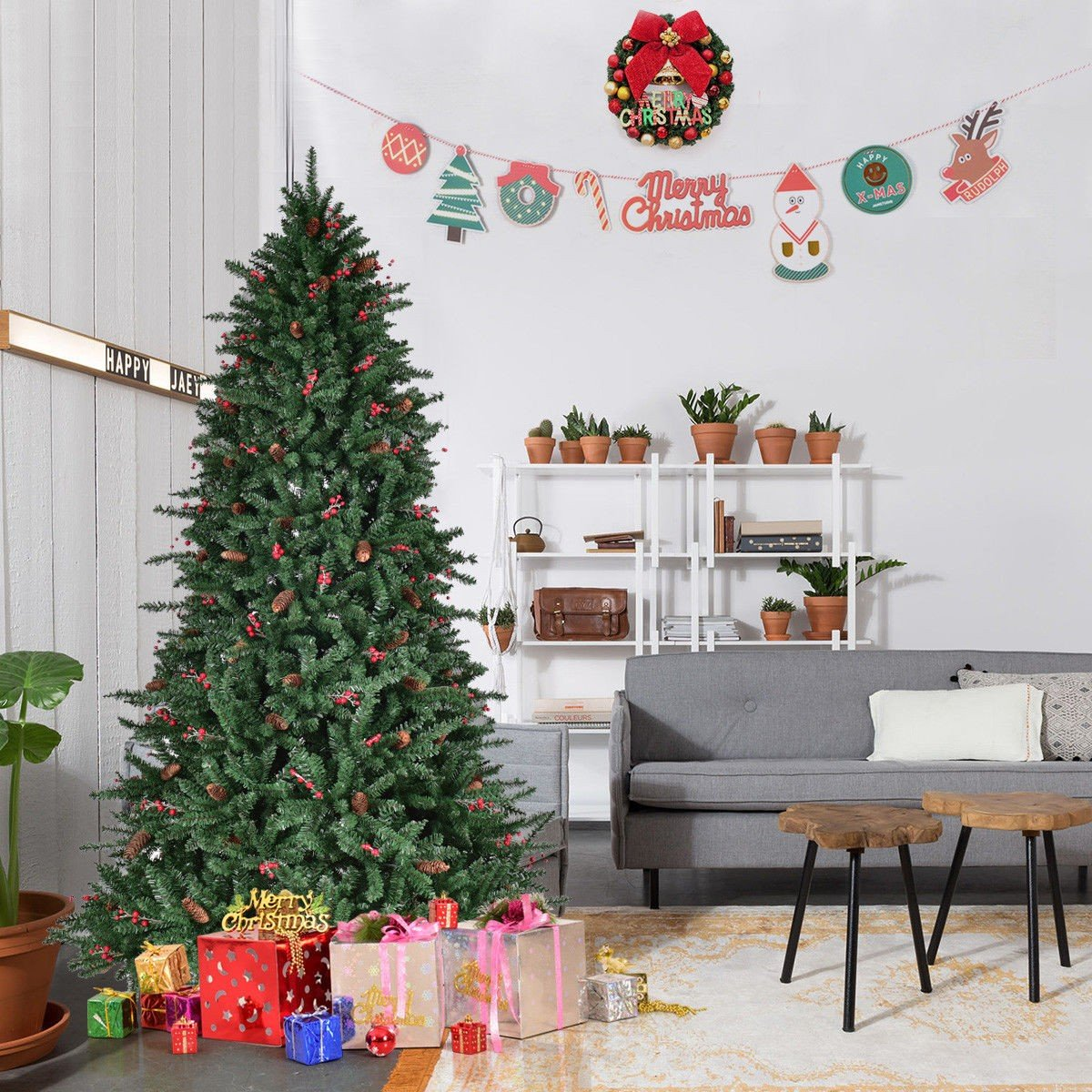 6 7 8 Artificial Pvc Christmas Tree W Pine Cones Red Berries Fiber Optic Christmas Tree Pencil Christmas Tree Unlit Christmas Trees