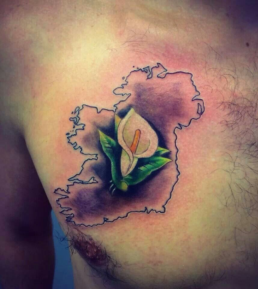 ccf79a48e6a4e Easter Lily inside outline of map of Ireland | Tattoos that I love ...