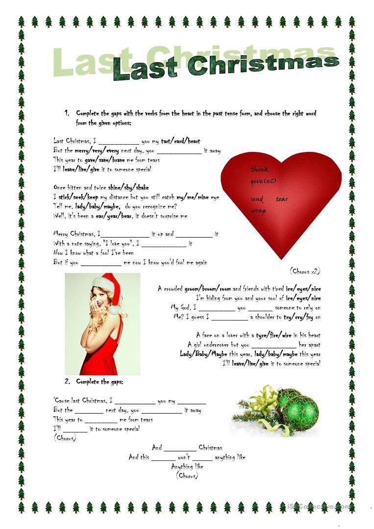 Song activity Last Christmas English ESL Worksheets