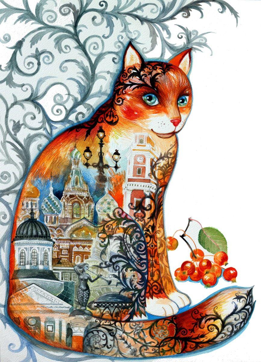 Saint Petersburg Cat Malerei 45x61 Cm C 2015 Von Oxana