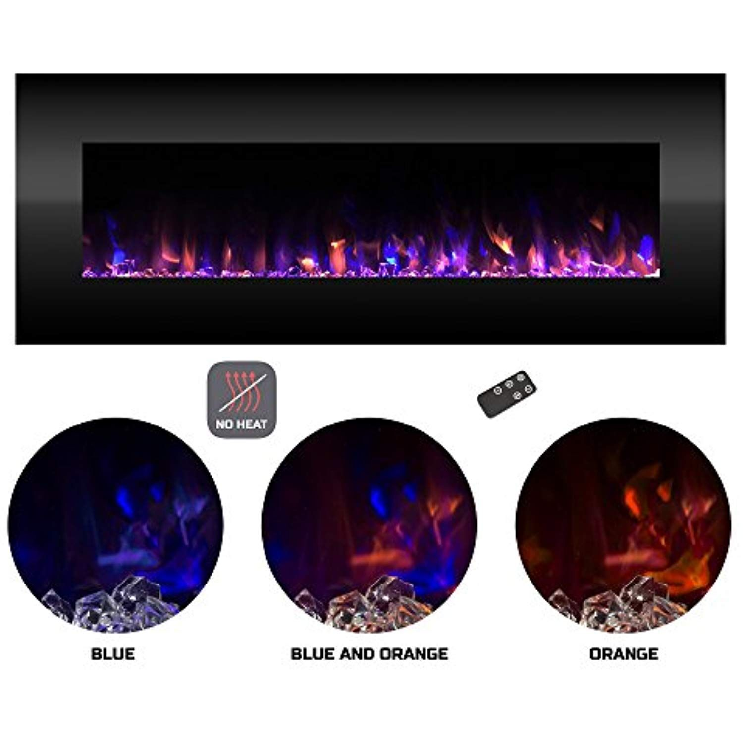 Electric Fireplace Wall Mounted Color Changing Led Fire And Ice