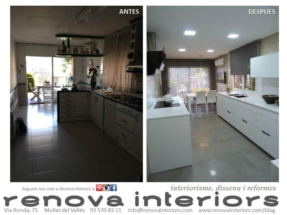 Antes y después en la cocina de A&J. mobiliario Santos. campana ...