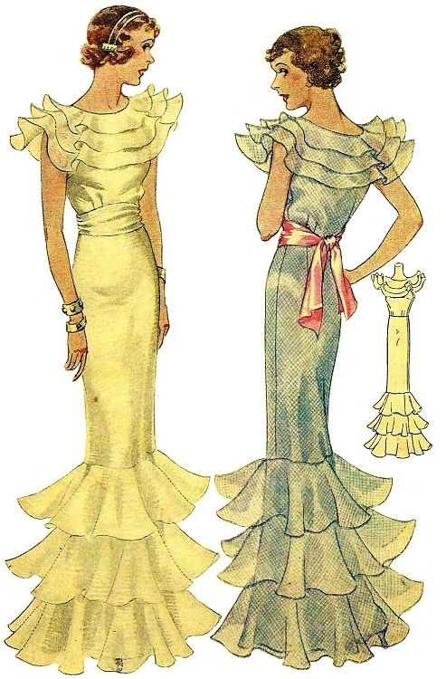 1930 Ladies Evening Gown With Ruffles | Kleider, Lady und Abendkleid