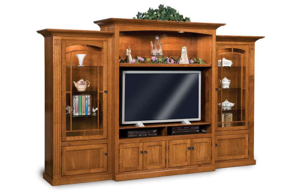 Amish Tv Entertainment Center Solid Oak Wood Media Wall Unit Cabinet Storage New In Home Garden Furniture Units Stands Ebay