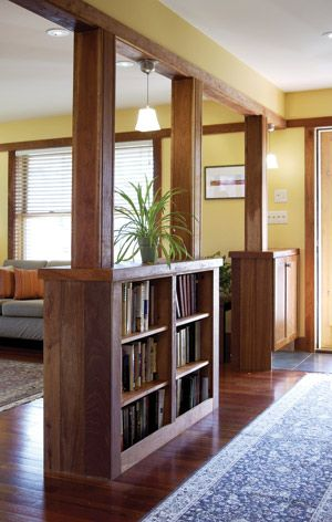 shelves built into columns accentmagazinecom DIY Home Decor