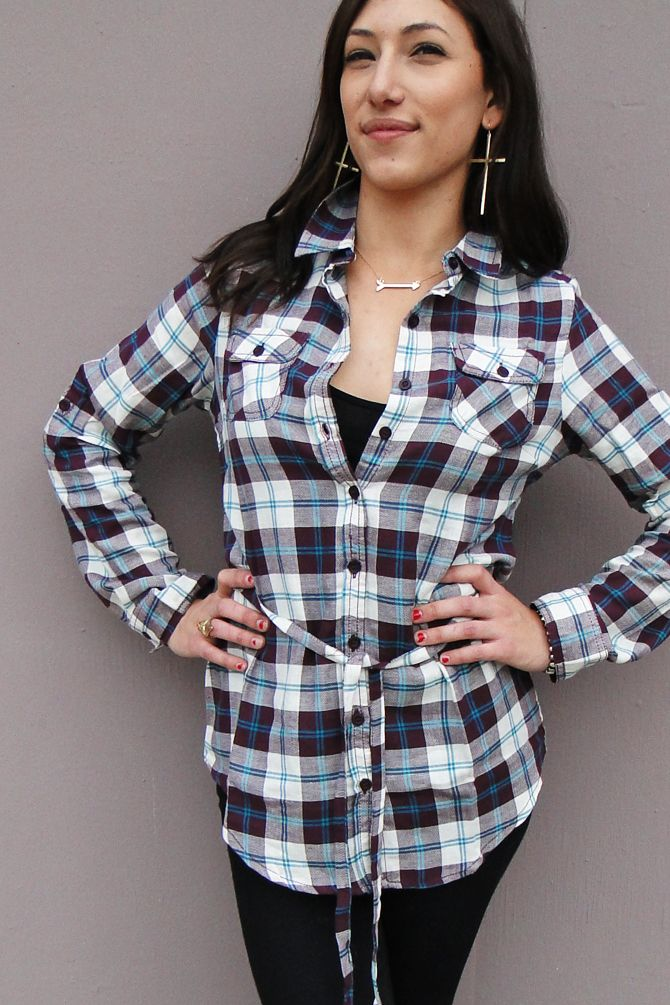 Tie waist Plaid Shirt, available in Purple & Green. Find in store DREAMGIRLS & www.shopdreamgirls.com