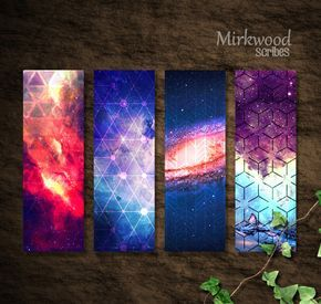 Printable Galaxy Bookmarks Set Of 4 Galaxy And Geometric Pattern