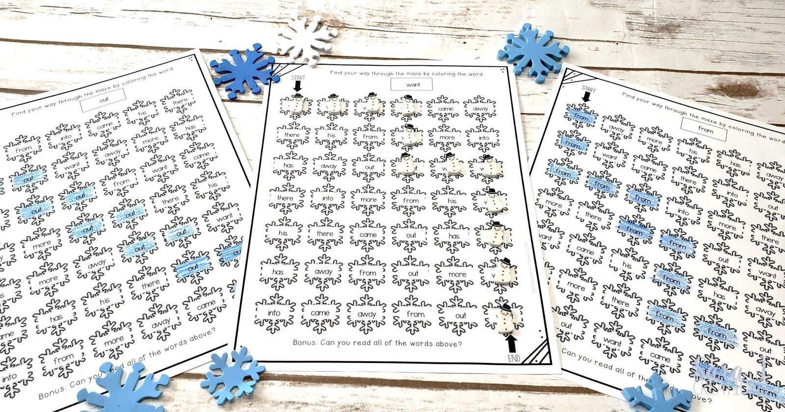 Winter Snowflake Editable Sight Word Mazes In