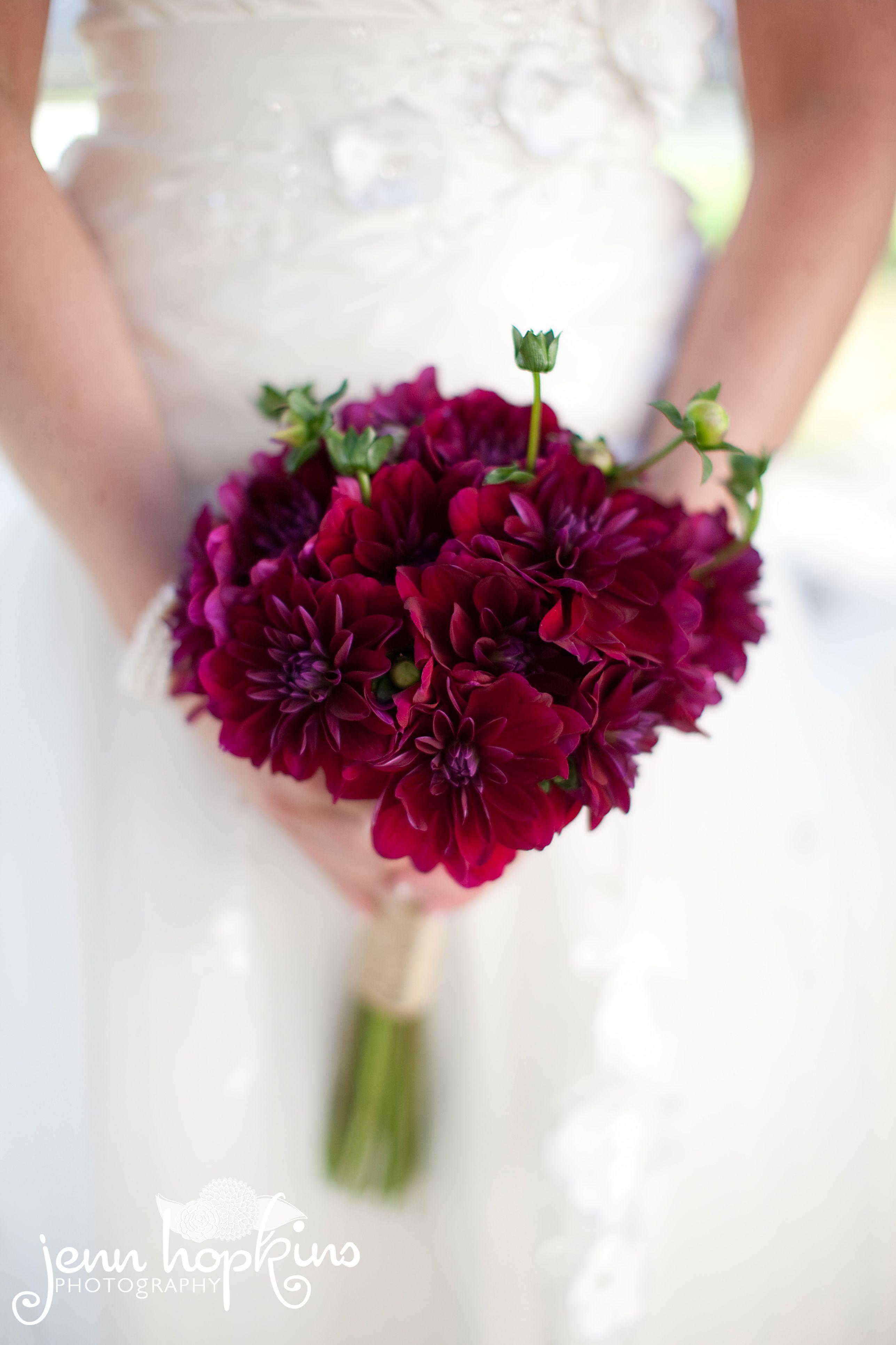 burgundy dahlias beautiful and simple wedding