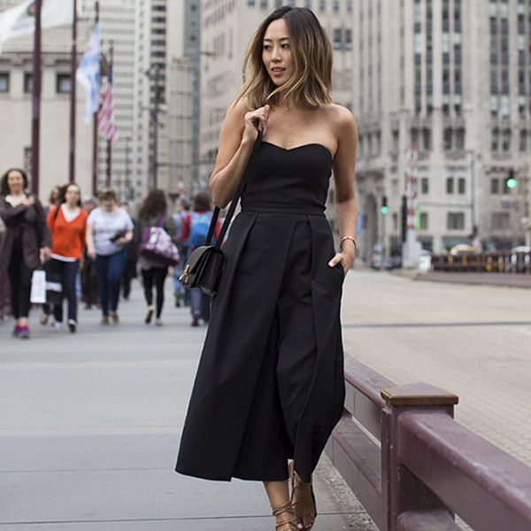 aimee - song - song of style - street style - blogger - blogueira - macacao preto - capa - itens
