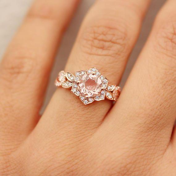 Lily Rose Flower Ring Wave Diamond Ring Morganite Gold Ring Etsy Morganite Gold Ring Unique Engagement Rings Aquamarine Engagement Ring