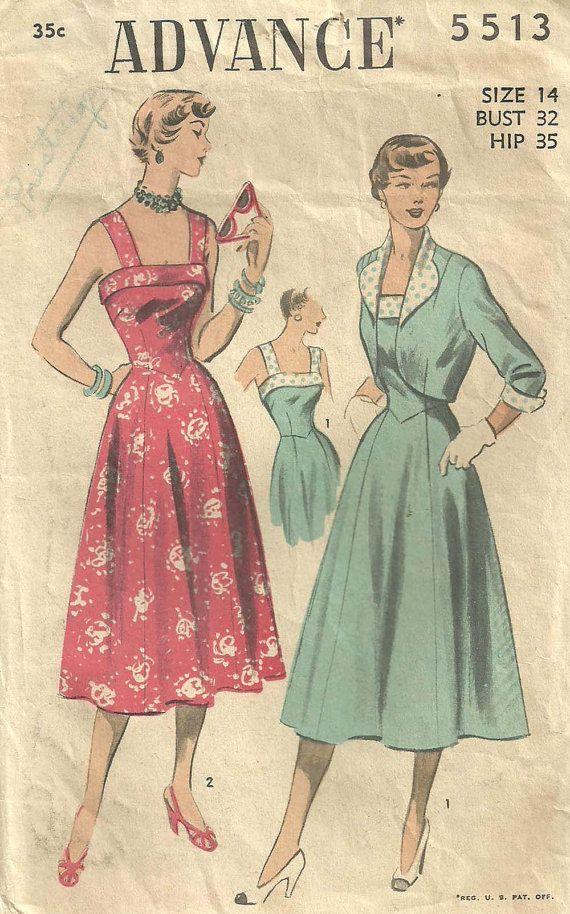 Advance 5513 Vintage 50s Sewing Pattern Dress And Bolero Size 14