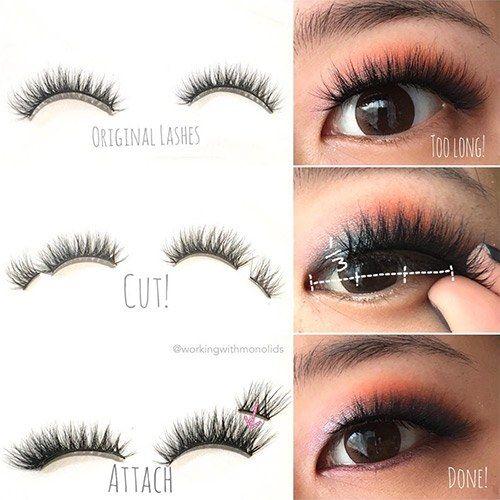 This Genius False Eyelash Hack Makes Small Eyes Look Bigger Asian Eyes False Lashes Fake Eyelashes