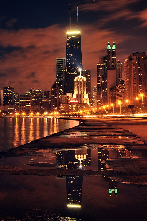 Chicago City Lights Photography Sky City Lights Water Clouds Orange Buildings Reflection City Lights Photography City Aesthetic Chicago City