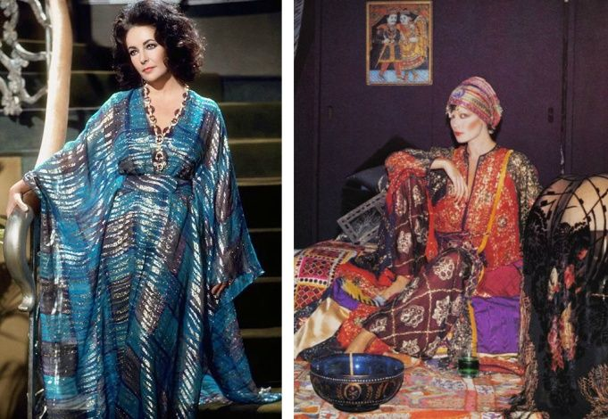 Elizabeth Taylor adored caftans // Creation of Thea Porter, 1977 (photo: Reginald Gray)