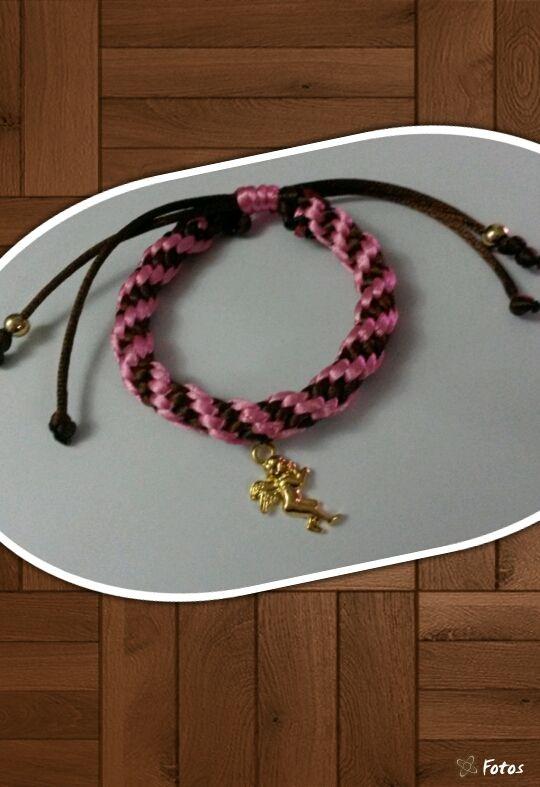 Pulsera de kumihimo marrón con rosado