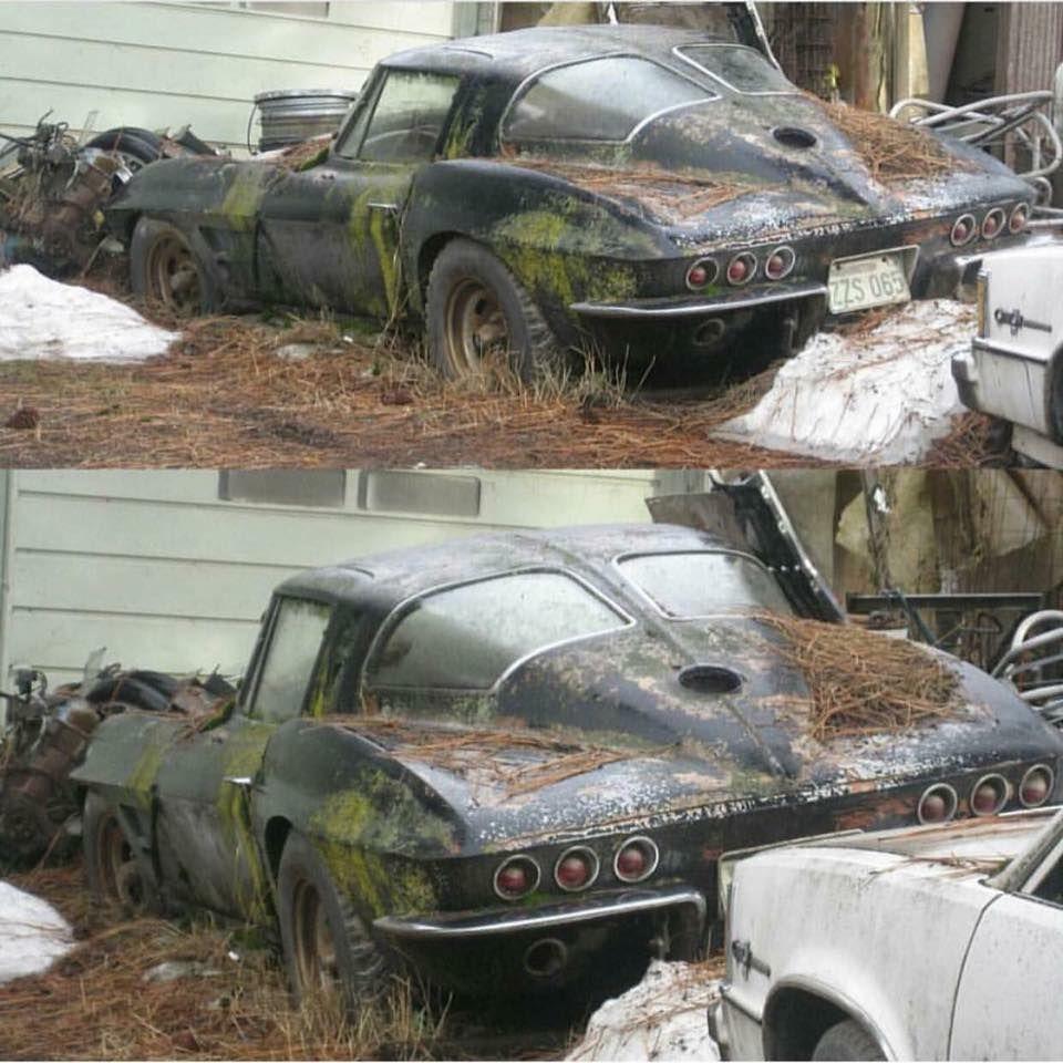 An abandoned 1963 Split Window Corvette. Fix or pass