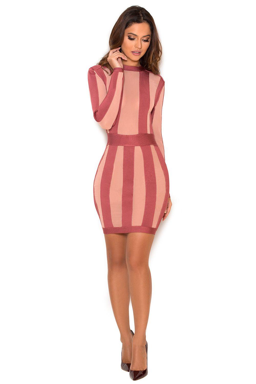 Clothing : Bandage Dresses : \'Solada\' Rose Pink Striped Bandage and ...