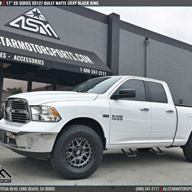 White Dodge Ram 1500 17 Inch Xd Series Xd127 Bully Matte Gray Black Ring Wheel And Tire Packages Wheels For Sale Ram 1500