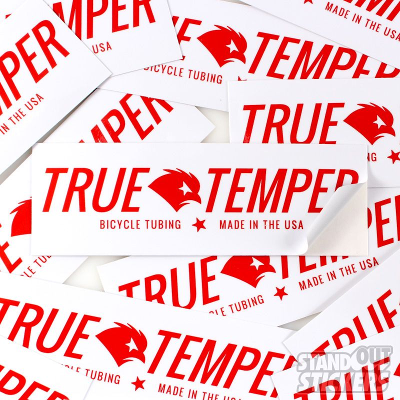 Custom rectangle vinyl stickers for true temper bicycle tubing made in the usa