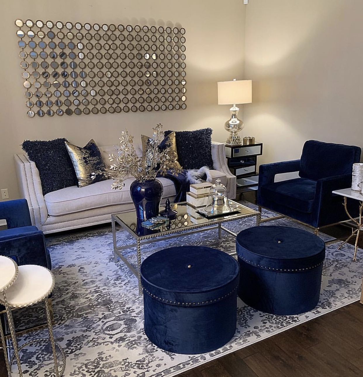 Best White Gold And Navy Blue Living Room Blue Furniture 400 x 300
