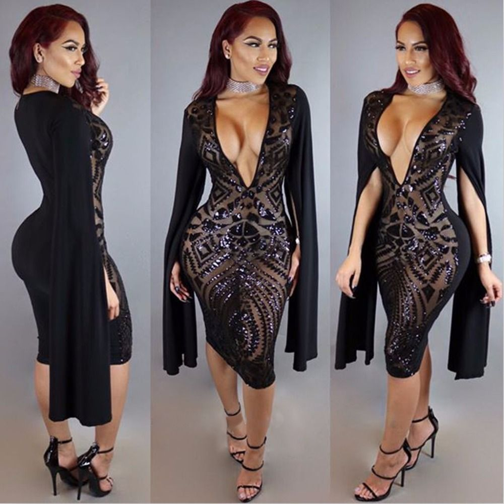 Bat Open Split Sleeve Sequin Patchwork Women NightClub Wear Fashion Dress  Black Sexy Deep V See