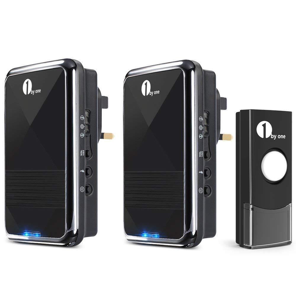 Door Bell Chime Cordless Wireless Plug Twin Long Range Front Loud Home Office 1byone Wireless Doorbell Doorbell Doorbell Chime