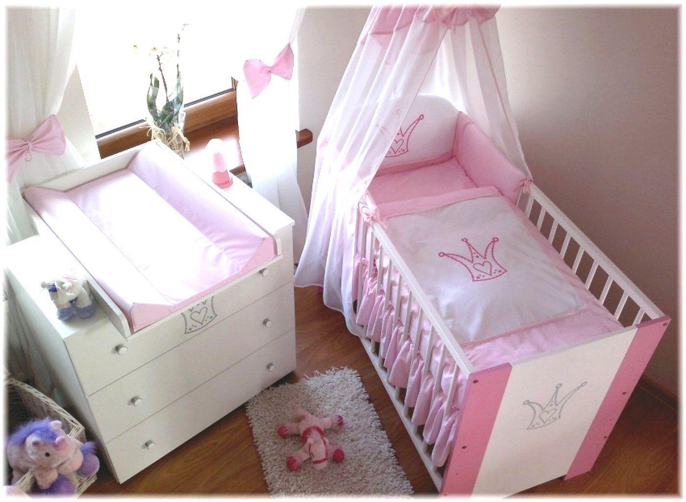 Kinderbett Baby Krone Rosa Incl Wickelkommode Lattenrost