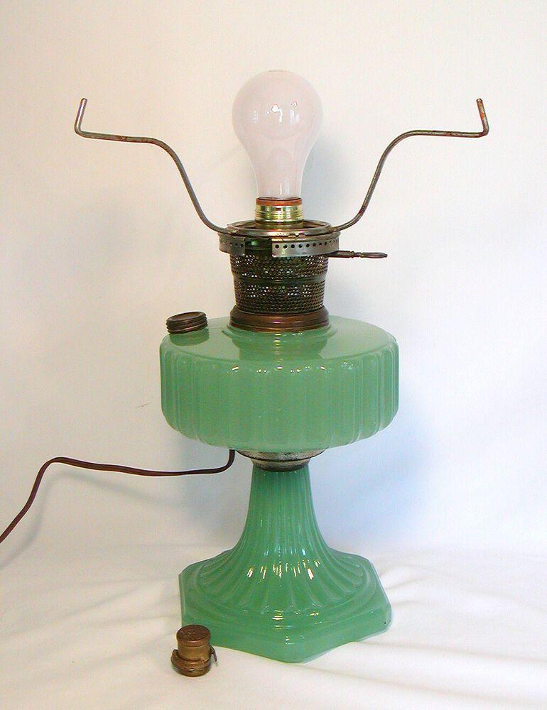 Vintage ALADDIN Moonstone JADITE OIL LAMP 1930s