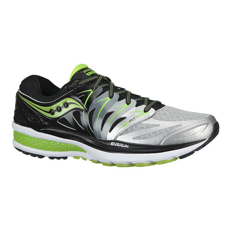 Saucony Men's Hurricane ISO 2 Running Shoes SilverBlackLime Green