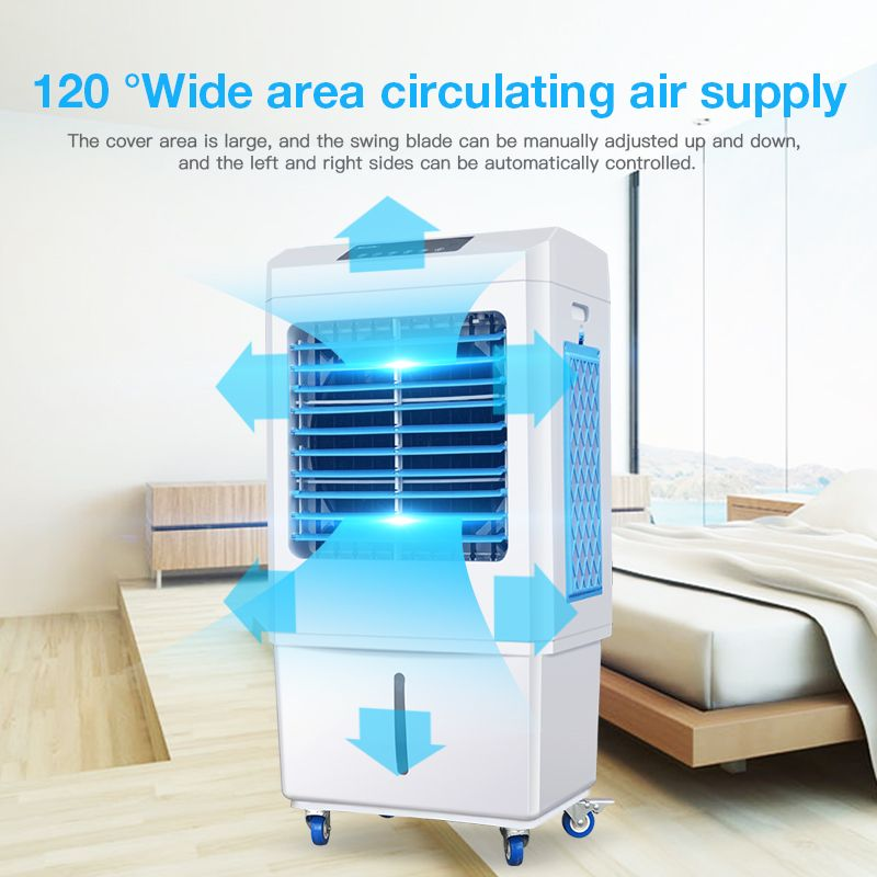 1 120 Degree Wide Area Circulation Air Supply Large Area Of Coverage Manual Djustment Of The Pendulum Blade Up Evaporative Cooler Air Cooler Portable Cooler